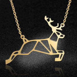 Jewelry - Stainless Steel Gold Tone Deer Necklace